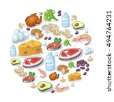 flat icons of meat and dairy... | Shutterstock .eps vector #494764231