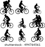 bicyclists silhouettes... | Shutterstock .eps vector #494764561