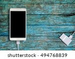 white smartphone and phone... | Shutterstock . vector #494768839