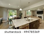 large kitchen island close up.... | Shutterstock . vector #494785369