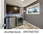 grey laundry room with modern... | Shutterstock . vector #494785705