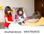 a group of children playing... | Shutterstock . vector #494790955