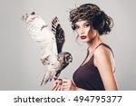 portrait of beautiful young... | Shutterstock . vector #494795377