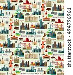 usa travel seamless pattern.... | Shutterstock .eps vector #494796961