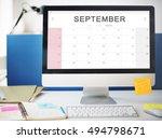 september monthly calendar... | Shutterstock . vector #494798671