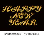 happy new year. calligraphy... | Shutterstock .eps vector #494801311