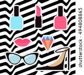 quirky cartoon sticker patch...   Shutterstock .eps vector #494808865
