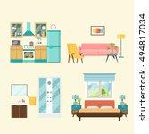 set of  interior design room .... | Shutterstock .eps vector #494817034