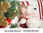 homemade christmas. little girl ... | Shutterstock . vector #494818765