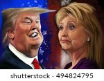 october 7  2016  caricature of... | Shutterstock . vector #494824795