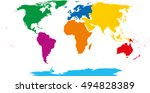 seven continents map. asia... | Shutterstock .eps vector #494828389