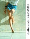 long sexy legs of beautiful... | Shutterstock . vector #494841805