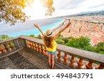 young female traveler enjoying... | Shutterstock . vector #494843791