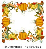 hand drawn doodle thanksgiving... | Shutterstock .eps vector #494847811