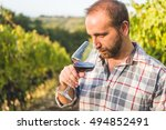 man drinking red wine from... | Shutterstock . vector #494852491