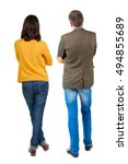 back view of young couple man... | Shutterstock . vector #494855689