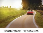 classic red convertible car... | Shutterstock . vector #494859325