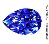 sapphire pear cut over white... | Shutterstock . vector #494875747