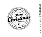 vintage merry christmas and... | Shutterstock .eps vector #494878444