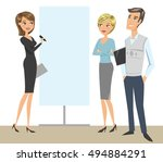 elegant woman doing a... | Shutterstock .eps vector #494884291