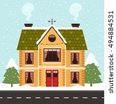 vector illustration of cute... | Shutterstock .eps vector #494884531