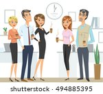 group of people  colleagues ... | Shutterstock .eps vector #494885395