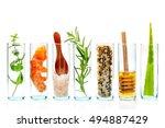 the glass bottle of homemade... | Shutterstock . vector #494887429