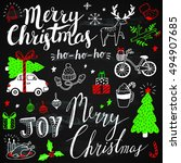 christmas doodles on chalkboard | Shutterstock .eps vector #494907685