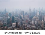 shanghai in fog at early... | Shutterstock . vector #494913601