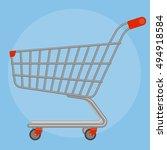 side view empty supermarket... | Shutterstock .eps vector #494918584