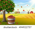 Apple Tree And Basket Of Apples ...