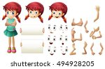 girl set with different hand... | Shutterstock .eps vector #494928205