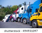 modern trucks of various colors ... | Shutterstock . vector #494931097