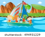 four kids sailing boat in river ... | Shutterstock .eps vector #494931229