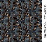 modern elegant floral dark... | Shutterstock .eps vector #494932111