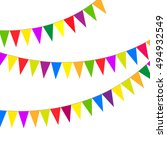 arnival pennants on the rope.... | Shutterstock .eps vector #494932549