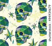 low poly geometric skull... | Shutterstock .eps vector #494934679