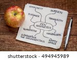 Small photo of zen aesthetics values - napkin doodle with an apple against rustic wood