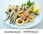 mixed fried fish with anchovy ... | Shutterstock . vector #494953621