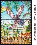 Small photo of CROATIA ZAGREB, 2 OCTOBER 2016: a stamp printed in Cocos Islands, Australia shows Aedes Mosquito, Aedes, Insect, circa 1995