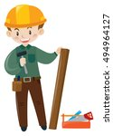 builder carpenter with tools | Shutterstock .eps vector #494964127