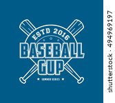 baseball cup emblem line icon... | Shutterstock .eps vector #494969197