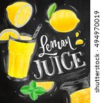 poster with lemonade elements... | Shutterstock .eps vector #494970019