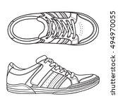 hand drawn vintage sneakers ...