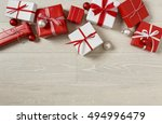 christmas gifts presents on... | Shutterstock . vector #494996479