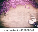 beautiful and scented purple...   Shutterstock . vector #495000841