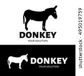 vector logo donkey. silhouette... | Shutterstock .eps vector #495019759
