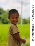 Small photo of poor children smile at Champasak province, Laos