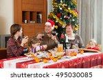 family of three generations... | Shutterstock . vector #495030085