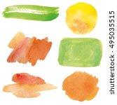 set watercolor fresh blobs ...   Shutterstock . vector #495035515